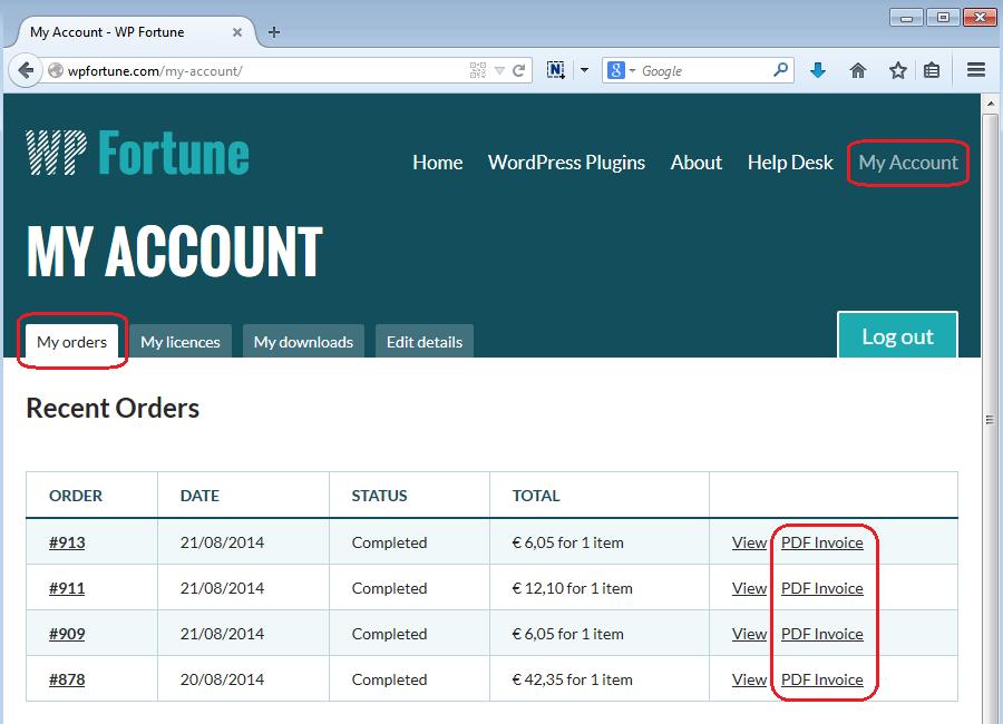 invoice screenshot