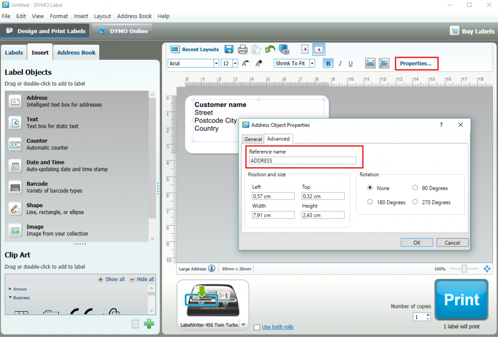 DLS Properties dialog - add reference name