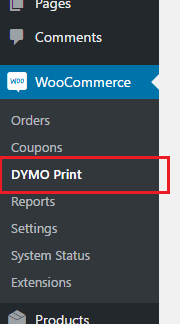 WooCommerce DYMO print - menu